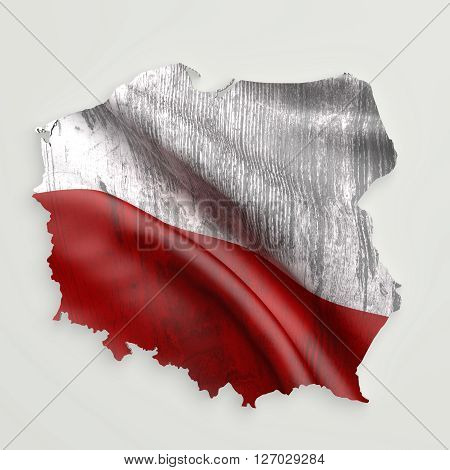 Silhouette Of Poland Map With Flag
