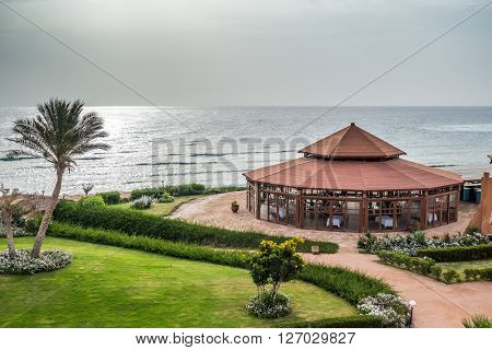 MARSA ALAM, EGYPT, MARCH 27, 2016: Panorama restaurant in Three Corners Equinox Beach Hotel at Red Sea shore