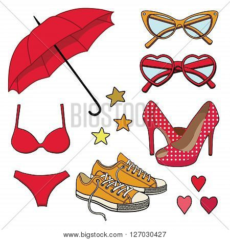 vector set with fashion accessories isolated on backgrond