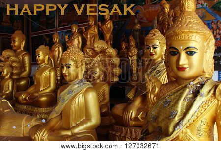 happy vesak day with a buddha icon