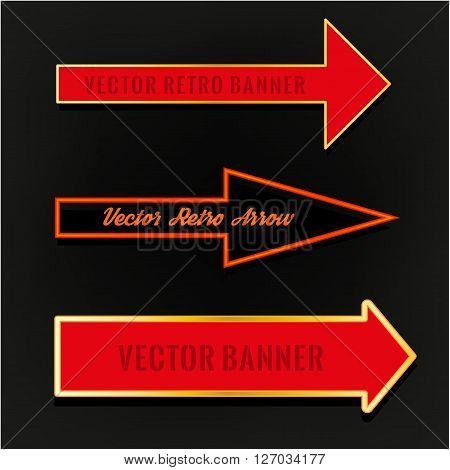 Vector editable illustration of an abstract direction arrows and bunners on a dark background in red and violet colours. Useful for transportation, travelling, hotel, circus and business design.