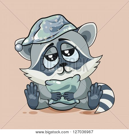 Vector Stock Illustration isolated Emoji character cartoon sleepy Raccoon cub in nightcap with pillow sticker emoticon for site, infographic, video, animation, website, e-mail, newsletter, report, comic