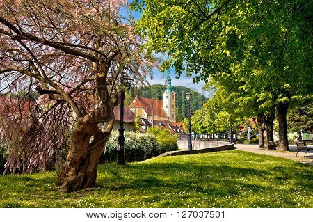 Town of Samobor park and church northern Croatia