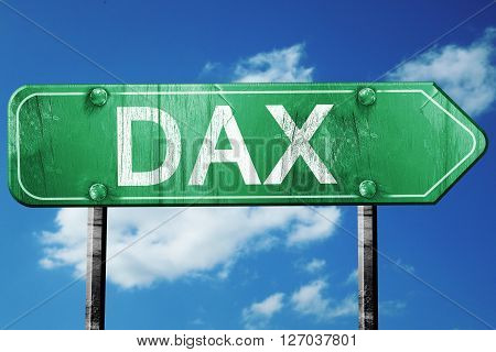 dax road sign, on a blue sky background
