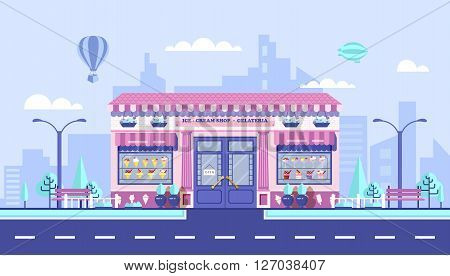 Stock vector illustration city street with Ice cream cafe in flat style element for infographic, website, icon, games, motion design, video