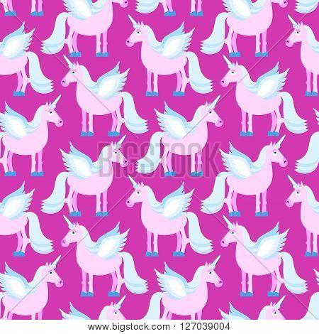 Pink Unicorn Seamless Pattern. Fantastic Animal On Purple Background. Fabulous Beast Texture. Mythic