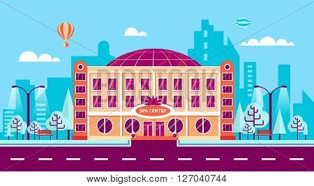 Stock vector illustration city street with SPA center in flat style element for infographic, website, icon, games, motion design, video