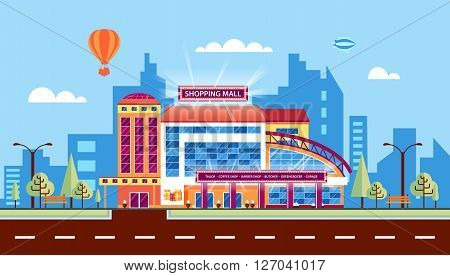 Stock vector illustration city street with Moll, shopping center, modern architecture in flat style element for infographic, website, icon, games, motion design, video