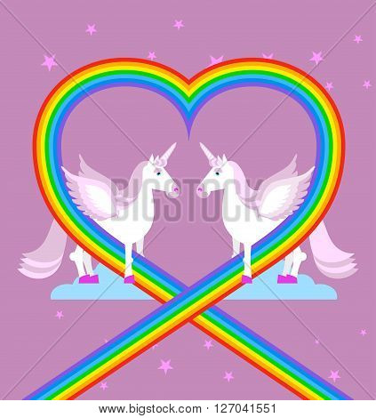 Pink Unicorn On Purple Sky. Heart Of Rainbow. Lgbt Characters. Fantastic Animal With Wings. Fabulous