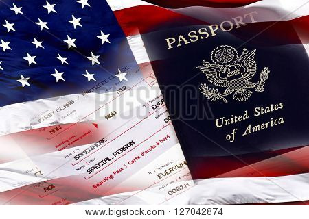 United States Passport, Boarding Pass And American Flag
