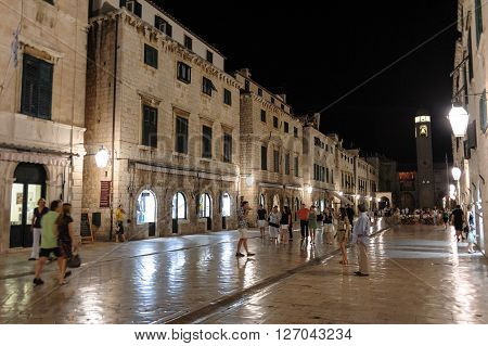 DUBROVNIK CROATIA - SEPTEMBER 1 2009: Illuminated Stradun street at night