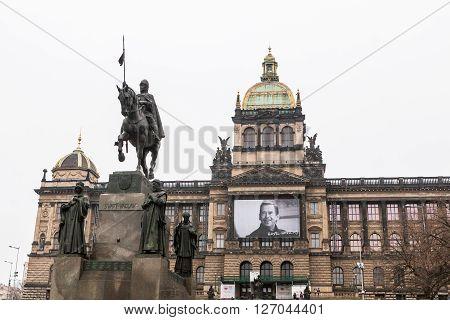 PRAGUE, CZECH REPUBLIC - FEBRUARY 13, 2015: View to the Wenceslas Square Wenceslas Monument and National Museum in Prague on February 13 2015. Wenceslas Square is one of the main city squares of Prague.