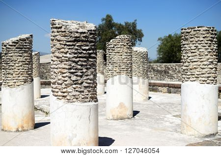 Pillars in ancient Toltec city in Tula