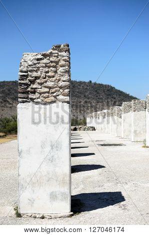 Ancient pillars at Toltec city - historical sight in Tula