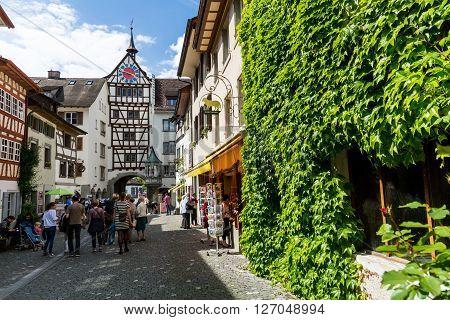 STEIN AM RHEIN SWITZERLAND - AUGUST 21: Town Hall and various houses in the old town of Stein am Rhein on August 21 2011. Its a municipality in the canton of Schaffhausen in Switzerland.