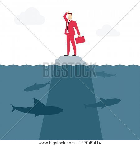 Red suit businessman and sharks. Vector concept illustration.