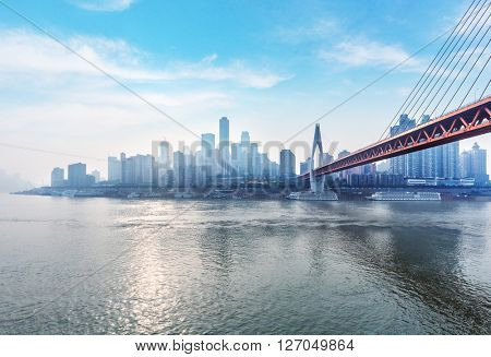tranquil cityscape of chongqing under blue sky,chongqing china.