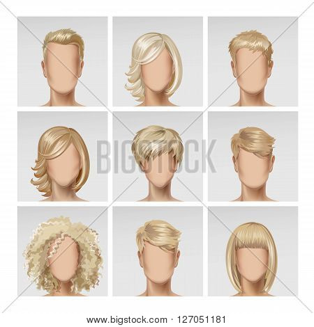 Vector Illustration of Multinational Male Female Face Avatar Profile Heads with Multicolored Hairs Icon Picture Set Isolated on Background