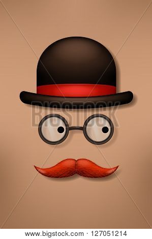 illustration of male hat glasses and mustache