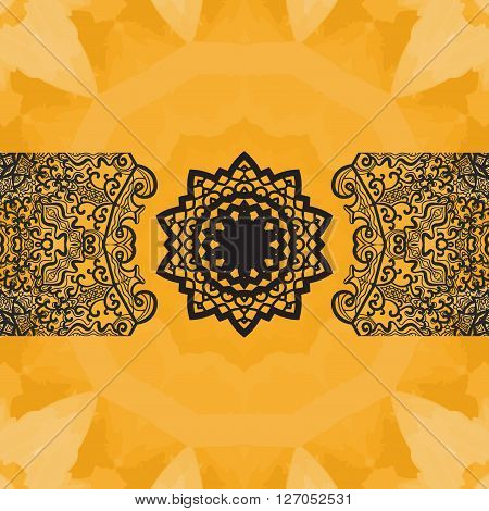 Elegant oriental frame on seamless watercolor texture. Hand-drawn mandala flower in the center and  copyspace above and beneath. Ornamental seamless lace pattern. Abstract vector tribal ethnic yoga yantra background endless pattern.