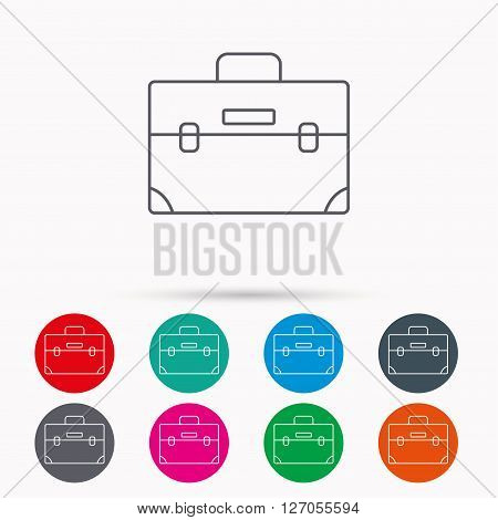 Briefcase icon. Businessman case or diplomat sign. Hand baggage symbol. Linear icons in circles on white background.