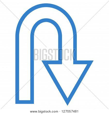 U Turn vector icon. Style is stroke icon symbol, cobalt color, white background.