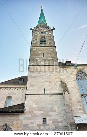 Bell Tower of Fraumunster Church, city of Zurich, Switzerland