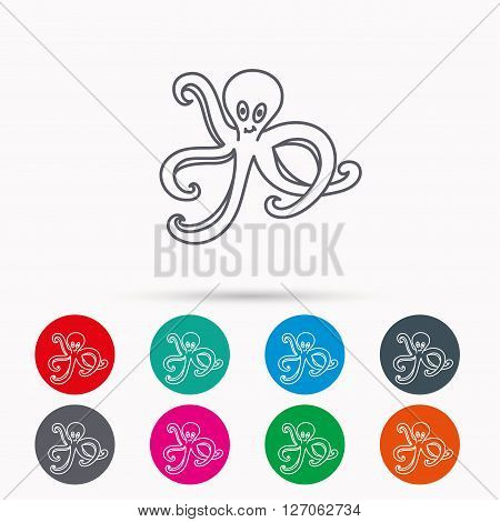Octopus icon. Ocean devilfish sign. Linear icons in circles on white background.