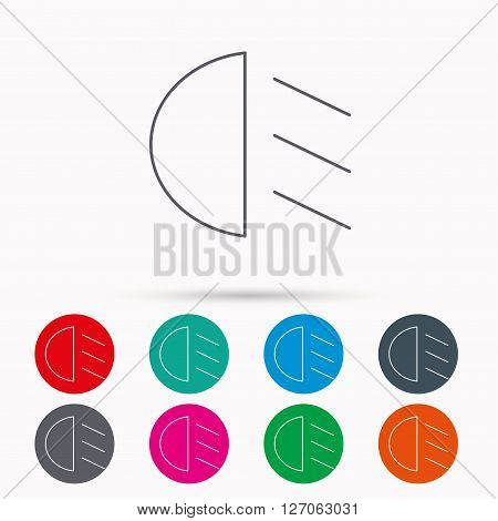 Passing light icon. Dipped beam sign. Linear icons in circles on white background.