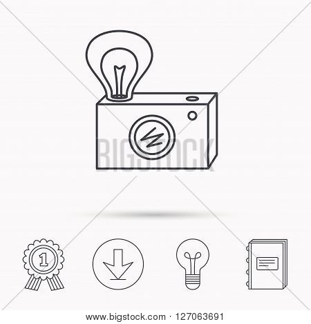 Retro photo camera icon. Photographer equipment sign. Camera with lamp flash. Download arrow, lamp, learn book and award medal icons.