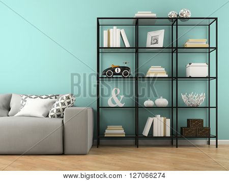 Part of interior with glass rack 3D rendering