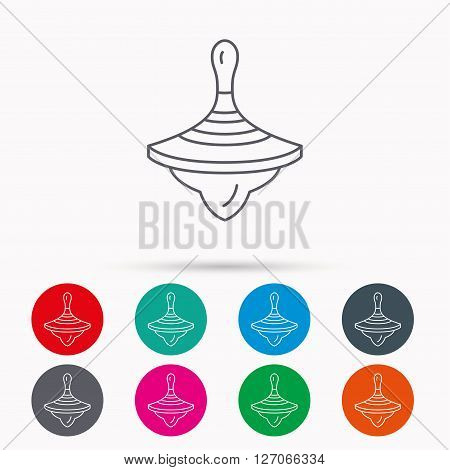 Whirligig icon. Baby toy sign. Spinning top symbol. Linear icons in circles on white background.