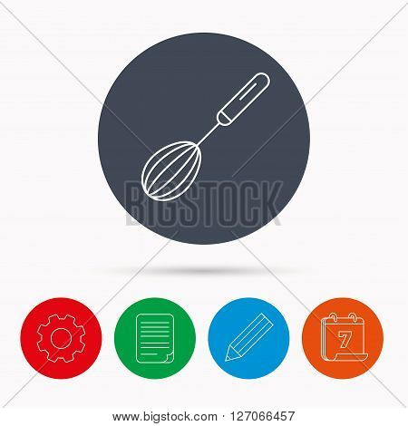Whisk icon. Kitchen tool sign. Kitchenware whisking beater symbol. Calendar, cogwheel, document file and pencil icons.