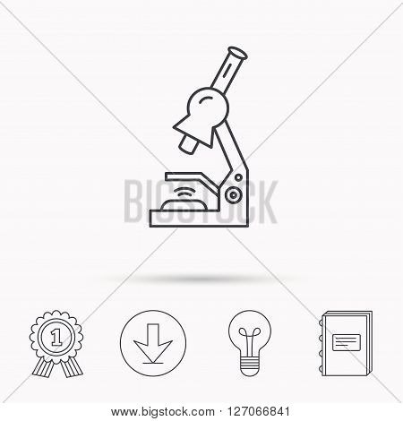 Microscope icon. Medical laboratory equipment sign. Pathology or scientific symbol. Download arrow, lamp, learn book and award medal icons.