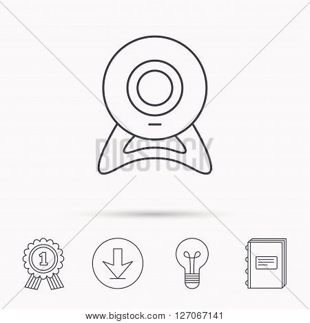 Web cam icon. Video camera sign. Online communication symbol. Download arrow, lamp, learn book and award medal icons.