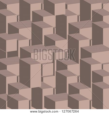 3d cube of square pattern geometric block illustration of stone architecture abstract