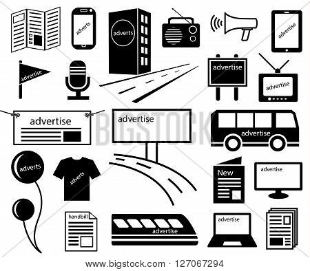 advertise channels media icon of marketing on journal news television radio billboards tower balloon internet shirt public transport mobile Brochure handbill and magazine