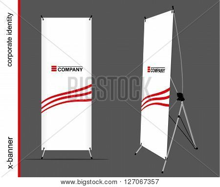 Advertising x-banner on the dark background. Mockup for design.