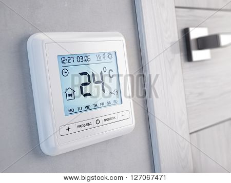 Modern digital programmable Thermostat - 3d render