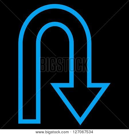 U Turn vector icon. Style is stroke icon symbol, blue color, black background.