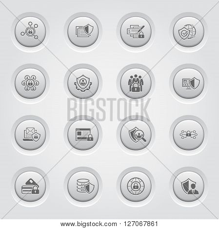 Flat Design Protection and Security Icons Set. Grey Button Design