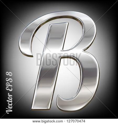 Metal alphabet vector symbol - B. Eps 8 using mesh.