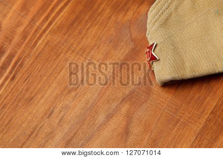 Soldier's Forage Cap With A Red Star. May 9 Victory Day