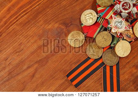 George's Ribbon And Medals For The Victory Over Germany In The Great Patriotic War Of 1941-1945. Hor