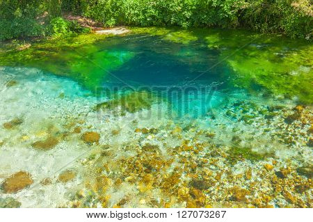 Beautiful turquoise spring Blue Eye (Syri i Kalter) near a town of Muzine, Albania. The spring is very powerful,  cold and deep and is a source of a river Bistrice poster