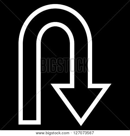 U Turn vector icon. Style is thin line icon symbol, white color, black background.
