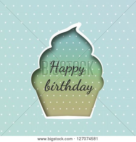 Greeting card with a cupcake on birthday background with polka dots
