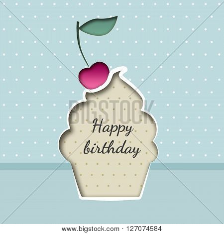 Greeting card with a cupcake birthday with a cherry on the background with polka dots
