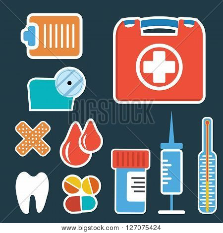 First aid kit box flat objects set. Medicine chest with cross and medical equipment. Medications for emergency. Healthcare flat vector illustration