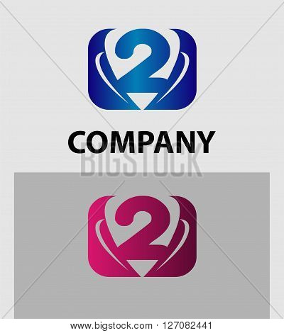 Abstract Number 2 logo Symbol icon set
